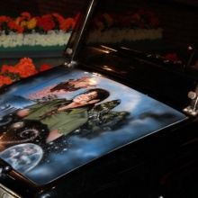 Michael Jackson's personal golf cart featuring Celine Lavail's artwork titled «Peter Pan»