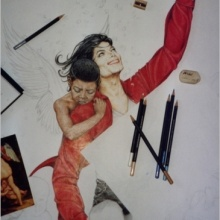 «Inspiration» in the works – Crayons on board. 32″ x 48″