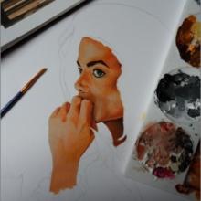 Création du tableau «Reflection» – 50x30cm – Acrylique