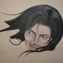 Création du tableau «Scared of the Moon» – 75x50cm – Acrylique
