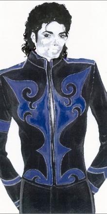 Croquis préliminaire pour la réalisation d'une veste destinée à Michael Jackson