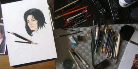 Création du tableau «Mad Hatter» – 50x40cm – Crayons et acrylique